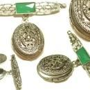 Vintage Marcasite Chrysoprase art deco hanging locket brooch