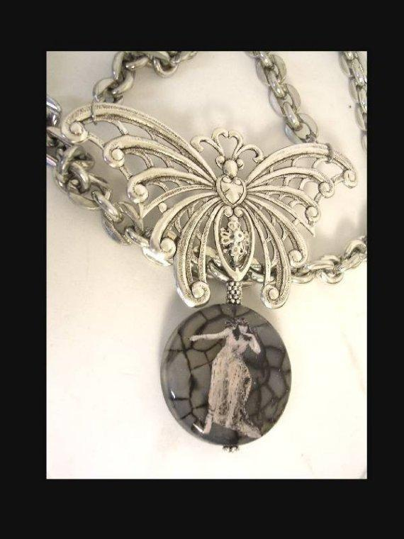 HUGE Bizarre Cleopatra Gothic Spider stone Butterfly reversible necklace