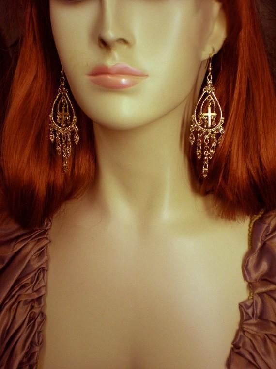 Gothic MEdieval chandelier Cross drop rhinestone earrings
