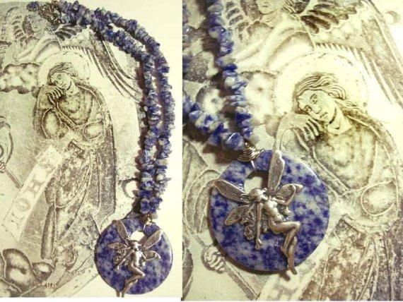 Irish Fairy Nymph Lapis talisman necklace of Goddess  Aine