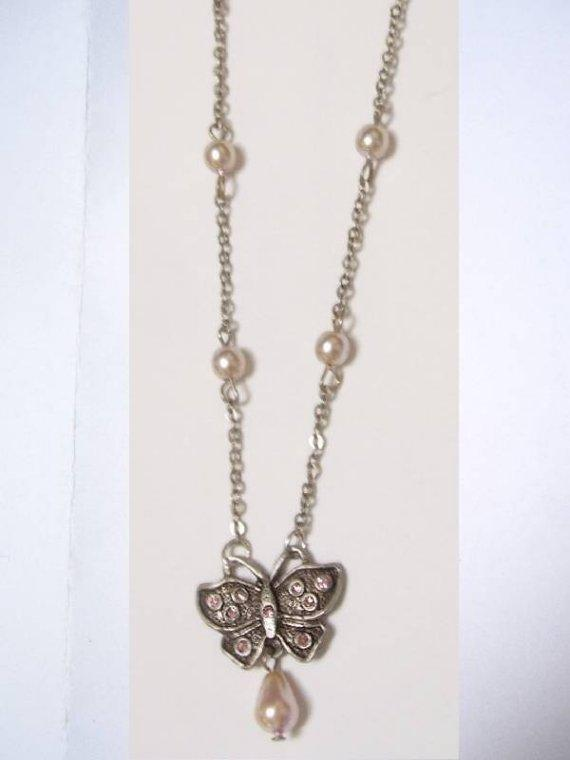 Pearl Drop figural Butterfly Edwardian style feminine necklace