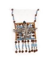 Exotic Asian Goddess glass beaded Tassle necklace