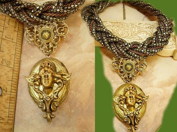 Medusa Locket necklace HUGE snake chain Winged Goddess Angel renaissance