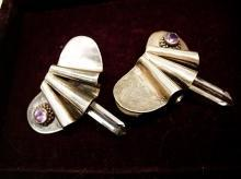 Vintage sterling earrings with healing crystal  amethyst modernist