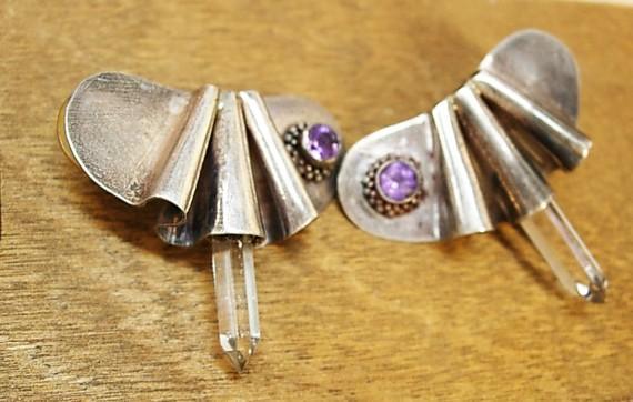 Vintage sterling earrings with healing crystal  amethyst modernist