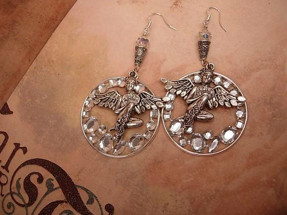 Reserved for moon Winged Goddess in the stars Earrings