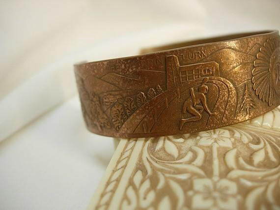 Unusual Indian Story telling bracelet cuff with Chief and warriors