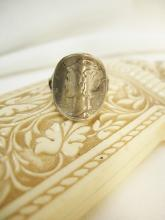Vintage 1920 Mercury RING with winged God in sterling Liberty Dime Coin Jewelry size 6 1/2