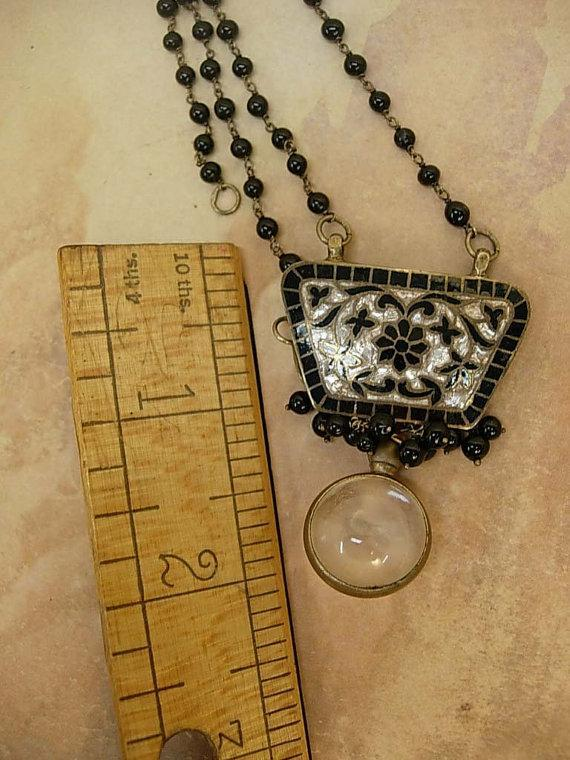 Vintage mustard seed victorian necklace black enamel and mother of pearl