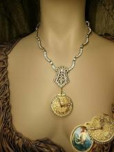 Mermaid slider locket necklace with  1920s deco paste dress clip and rhinestone collar and pocketwatch