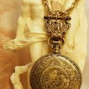 VIntage Nouveau pocketwatch compact necklace with raised nudes and antique hanger