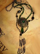 Vintage Flapper lariat and czech filigree necklace set Jet beads