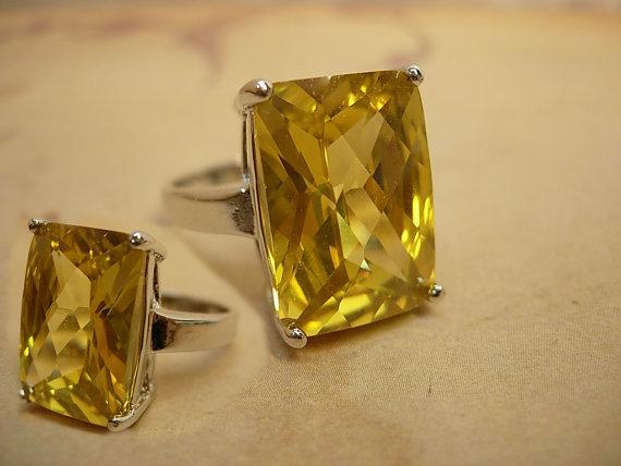 15ct Citrine huge DEco style statement ring sterling setting