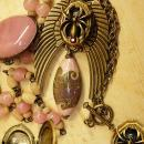 Gothic Winged Spider skeleton locket necklace set with gorgeous pink focal bead