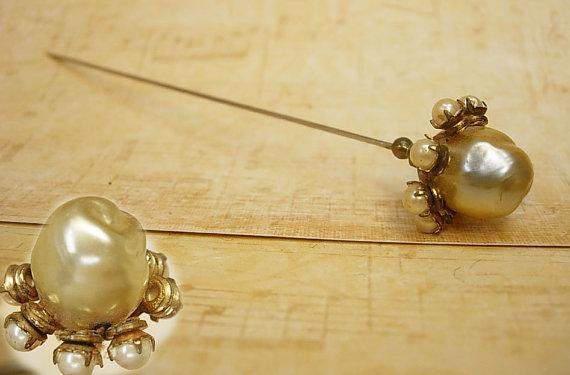 ANtique Pearl Hatpin huge baroque faux pearl top