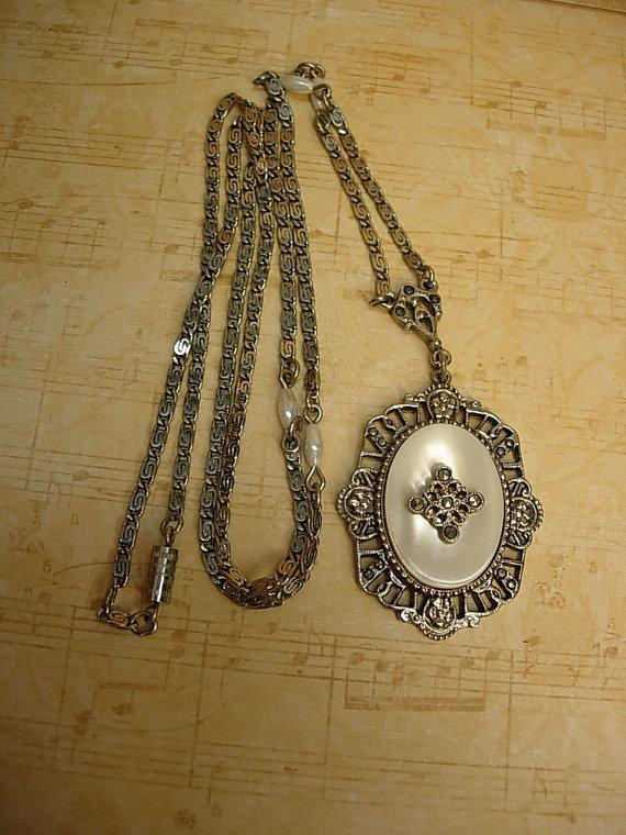 Vintage Deco Style MOP necklace with marcasites and faux pearls
