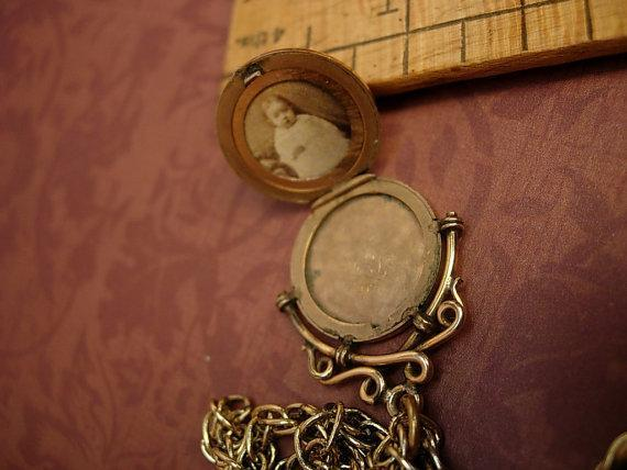 Antique victorian locket fob necklace rose gold filled fancy fob with victorian baby photo inside
