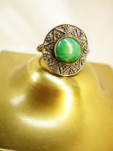 Malachite talisman sterling Ring Vintage star symbols
