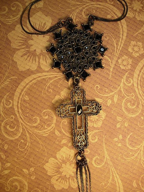 Gothic necklace BLack rhinestones gothic cross long  tassels costume jewelry