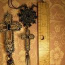 Gothic necklace BLack rhinestones gothic cross long  tassels costume jewelry