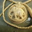 Antique ivory necklace carved Elephant pendant preban ivory beads ivory clasp