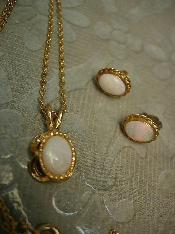 Vintage Opal necklace Gold filled opal earrings genuine opal demi parure Queen of GEMs