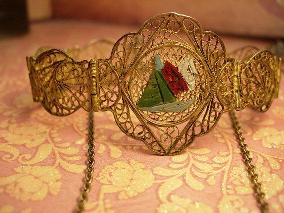 VIntage Enamel INdian bracelet and necklace ornate gilt filigree work