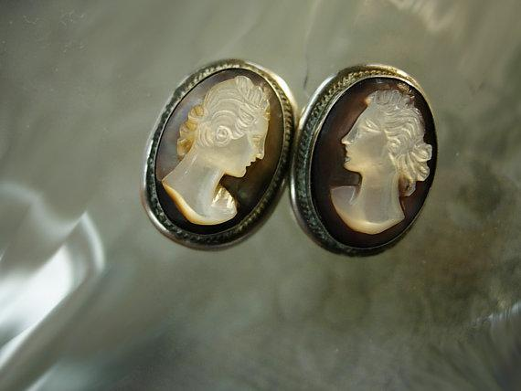 ANtique Cameo earrings Sterling screw on earrings with box Victorian earrings