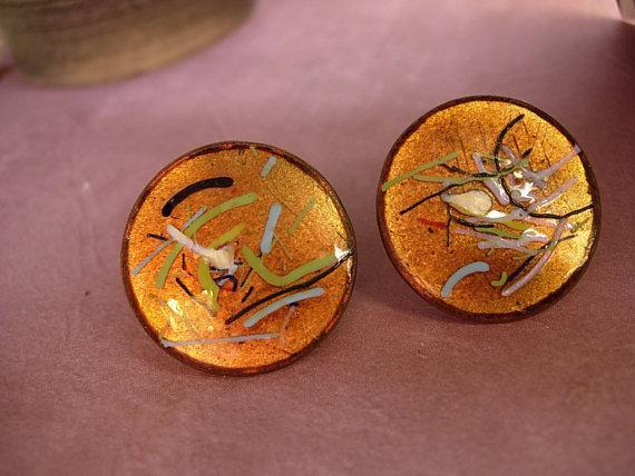 Vintage Enamel Earrings Fiery Copper hand wrought artisan earrings with the colors of fire