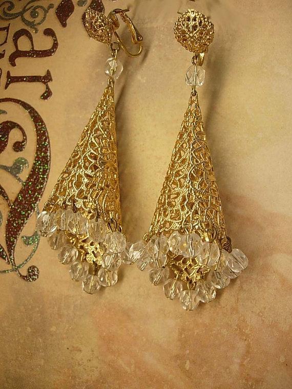 Huge clip on Filigree crystal earrings chandelier drops