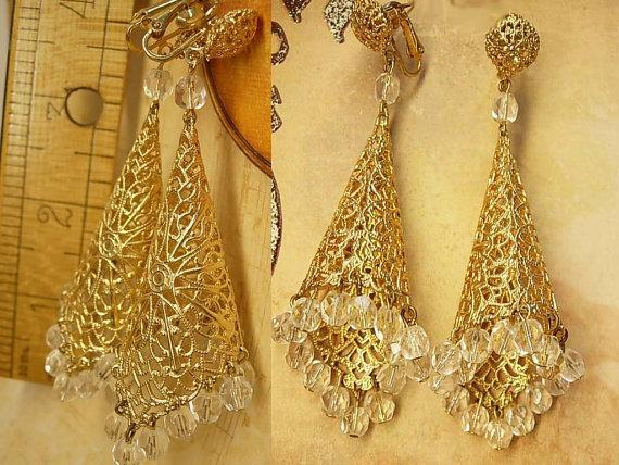 Huge clip on Filigree crystal earrings chandelier drops