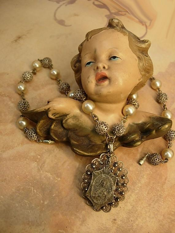 VIntage cannetille necklace St Teresa medal and pearl with filigree ball chain OOAK