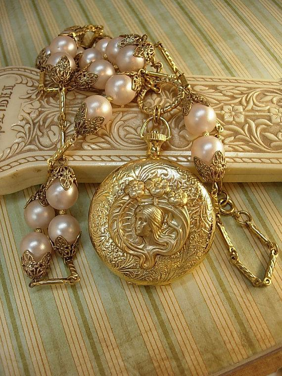 Memorial pocketwatch nouveau Mucha locket on large pink pearl chain