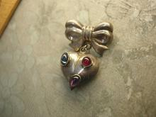 Vintage STerling sweetHeart BRooch Fob with gemstones puffy heart