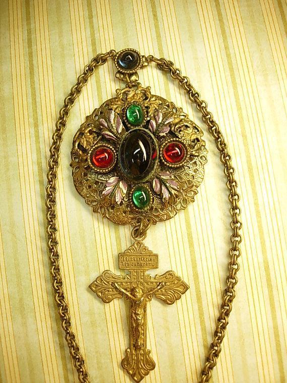 Antique Czech enamel necklace ANtique Czech sacred heart Crucifix very goth