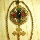 Antique Czech enamel necklace ANtique Czech sacred heart Crucifix very goth