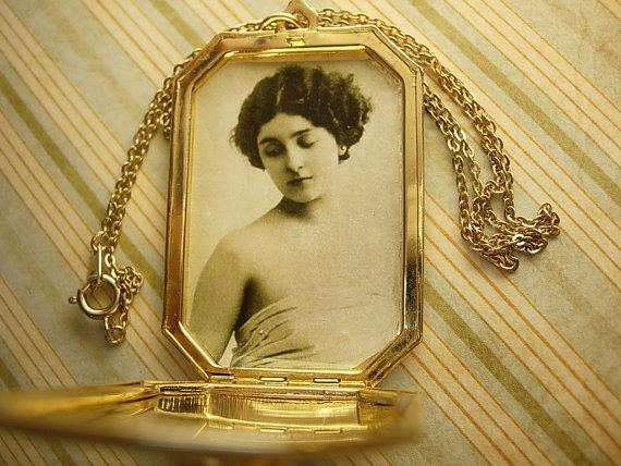 Art Nouveau Locket necklace with Flapper photo inside winged goddess on top
