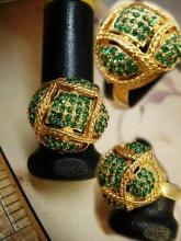 Pave Dome RIng TEENY green stones