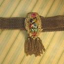 Victorian necklace ANtique czech jeweled Czech dress clip fringe collar choker