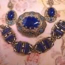 Vintage Czech Enamel Bracelet Brooch and earrings FABULOUS SET