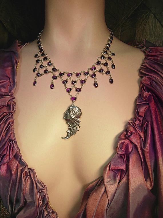Vintage Sterling Goddess necklace 40ct amethyst art deco moon and stars pendant
