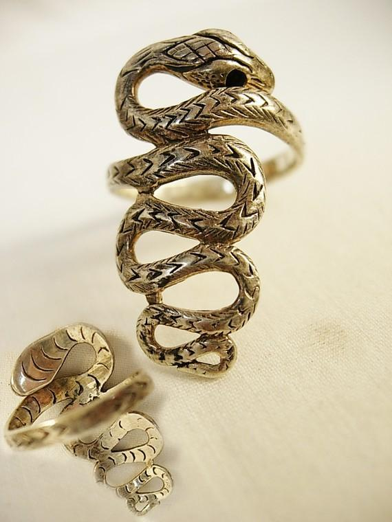 Sterling snake ring with a serpent that crawls down your finger