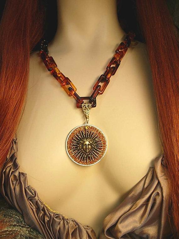 Goddess Medusa necklace Large Faux tortoise links Huge sparkling mythical Pendant
