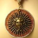 Goddess Medusa necklace Large Faux tortoise links Huge sparkling mythical Pendant