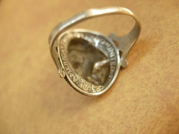 ANtique Coin ring 1918 Silver Mercury dime Victorian memento Mucha goddess