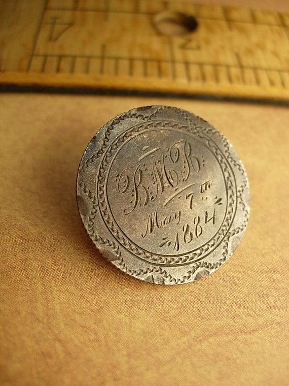1884 Love Token brooch Victorian Quarter Dollar silver memento brooch