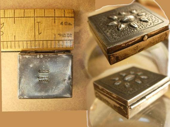 Antique sterling Stamp Box Arts and crafts repousse Hallmarked Sterling Mexico