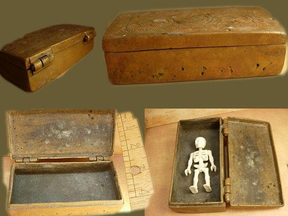 Antique Primitive mixed metal coffin shaped box unusual workmanship