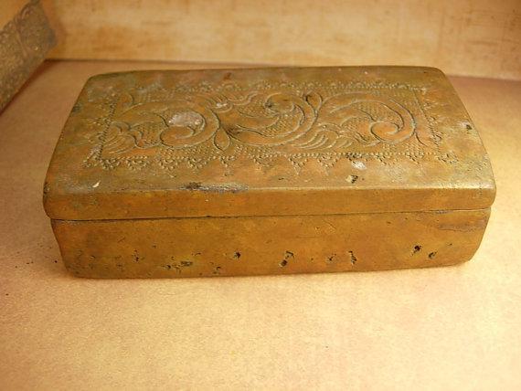 Antique Primitive mixed metal coffin shaped box unusual workmanship