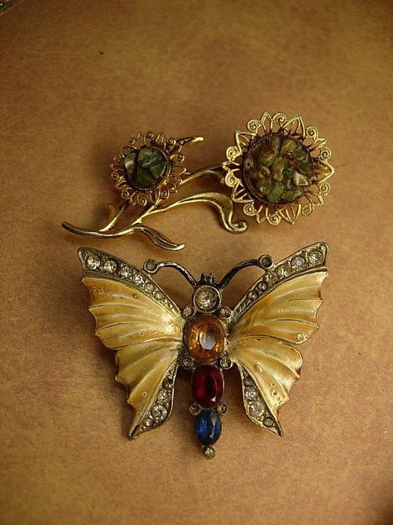 Vintage brooches enamel rhinestone butterfly jade flower brooch